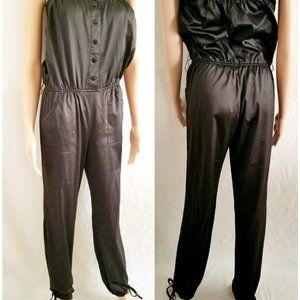 Forever 21 Strapless Button-Front Black Jumpsuit M